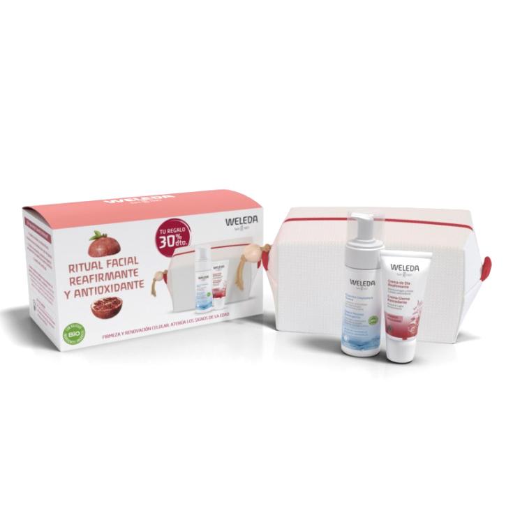 weleda pack crema dia granada + espuma limpiadora facial + neceser regalo