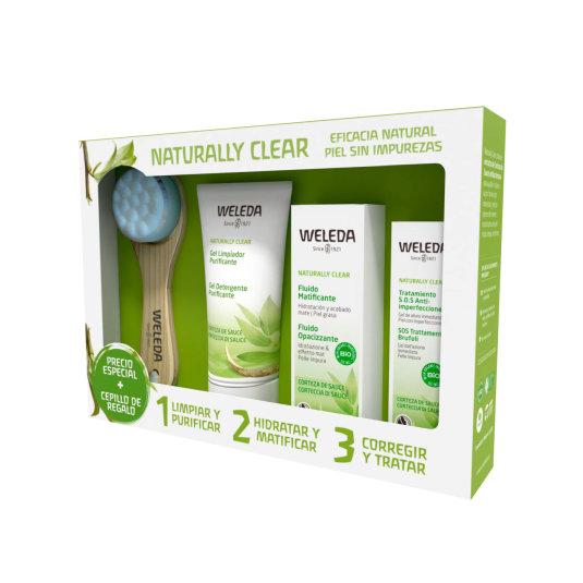weleda naturally clear set limpieza facial piel mixta + 4 piezas