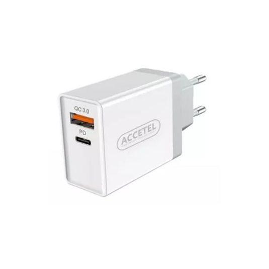 accetel adaptador red carga rapida 1usb/type-c 24w