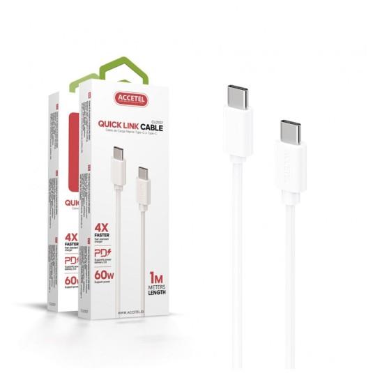 accetel cable carga rapida type-c a type-c 60w max.20v 3a 1 metro