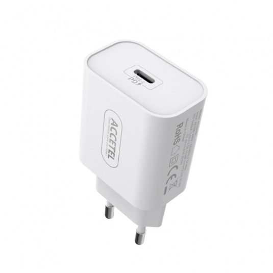 accetel adaptador red carga rapida puerto type-c pd 20w