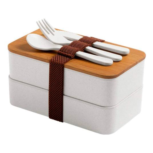 fiambrera 2 compartimentos tapa de bambu + cubiertos