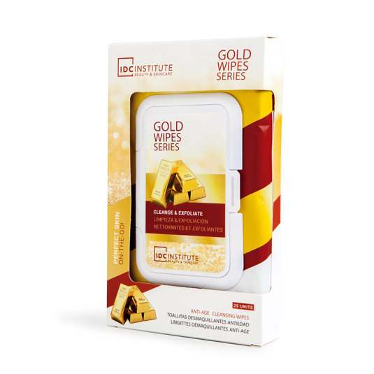 idc institute gold wipe series toallitas faciales limpiadoras y exfoliantes antiedad 25und