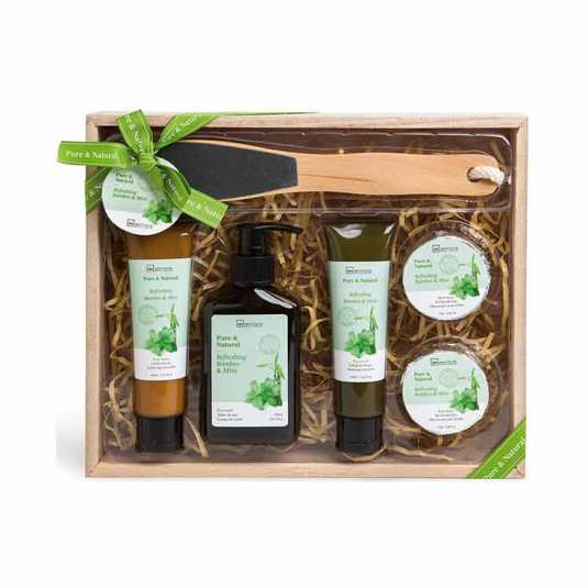 idc institute set de baño caja madera pure and natural 6 puezas