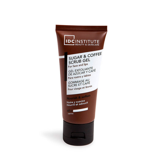 idc institute gel exfoliante facial de azucar y cafe para rostro y labios 60ml