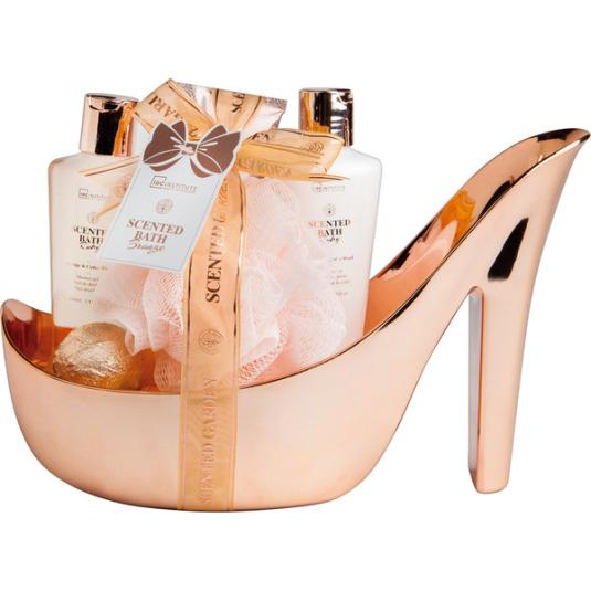 idc institute scented bronze cesta de baño en forma de zapato 5 piezas