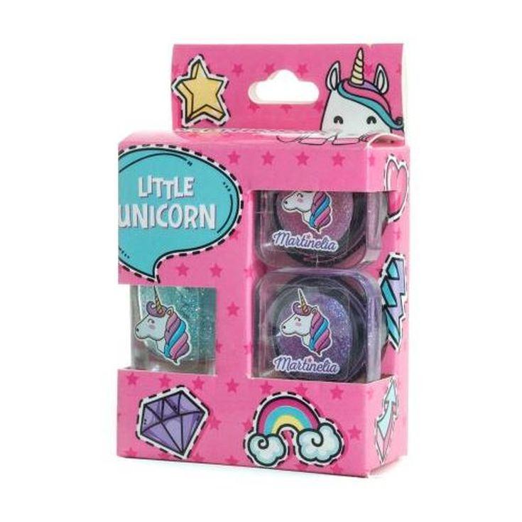 martinelia little unicorn set de maquillaje infantil 3 piezas