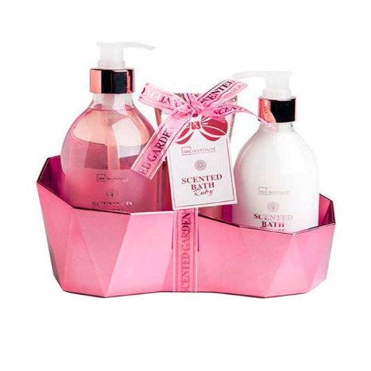 idc institute scented ruby cesta de baño 3 piezas