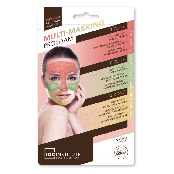 idc multi masking mascarilla facial 3 en 1 multizonas piel grasas monodosis