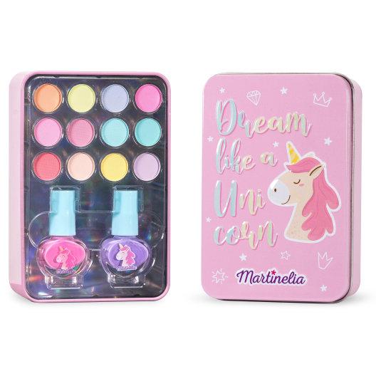 martinelia unicorn mini set maquillaje infantil en lata metálica