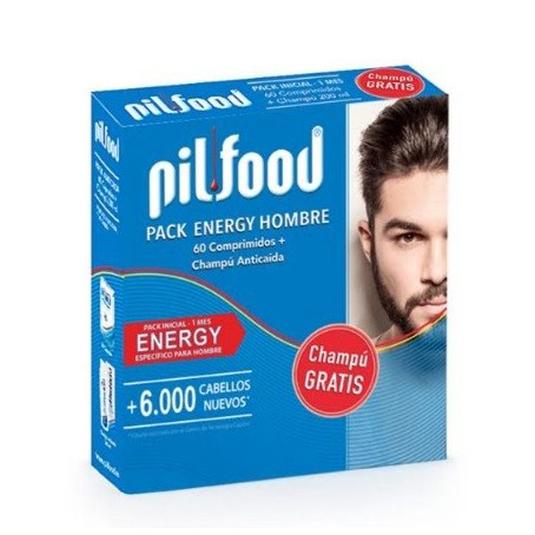 pilfood energy hombre tratamiento anticaída cabello 1 mes set 60 cap.+ champú