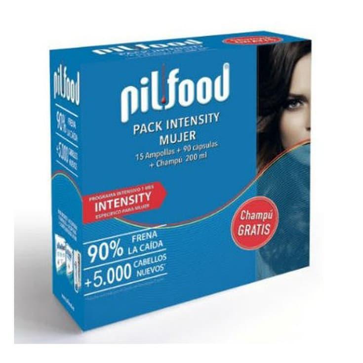 pilfood intensity tratamiento anticaída mujer 1 mes set 90 cap.+ 15amp.+champú