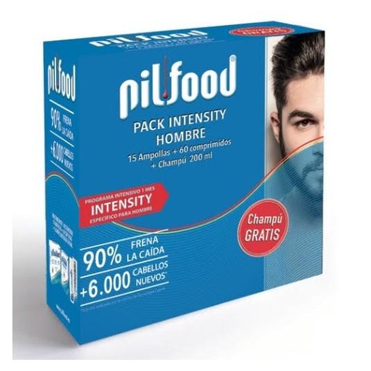 pilfood intensity tratamiento anticaída cabello hombre 1 mes set 60 cap.+15 amp.+champú