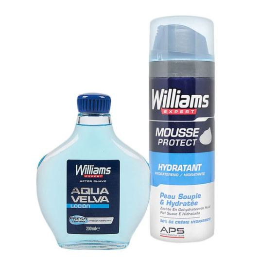 pack willians espuma de afeitar hidratante 200ml + aqua velva locion after shave 200ml
