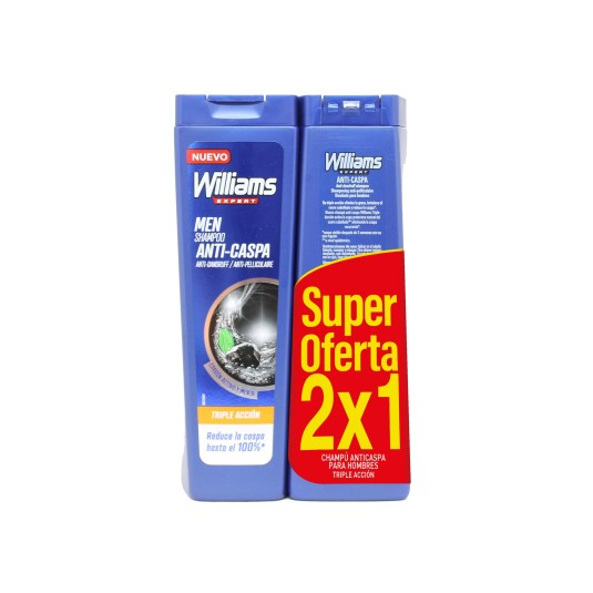 willians expert champu anti-caspa triplo accion duplo 2x1