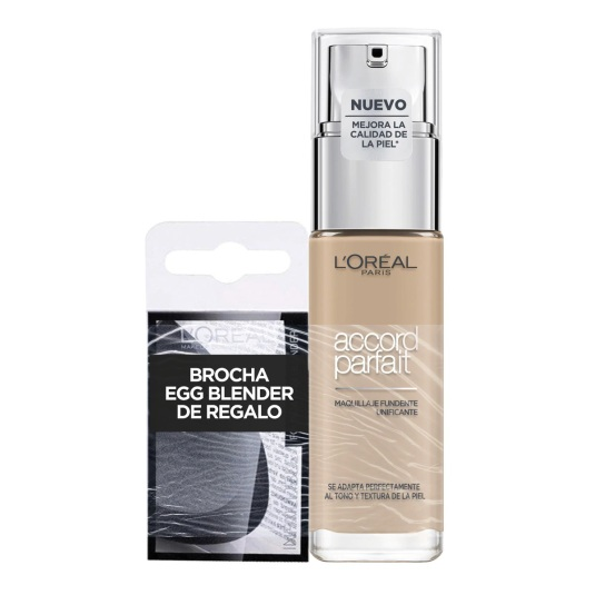 loreal kit accord perfect base de maquillaje + esponja eggblendder 3d