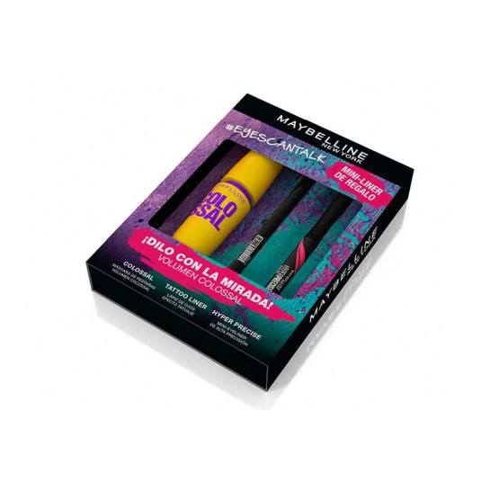 maybelline #eyescantalk the colossal set 3 piezas ed. limitada