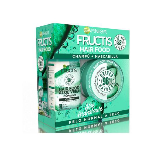 pack fructis hair food aloe vera champú 350ml + mascarilla capilar air food aloe 390ml