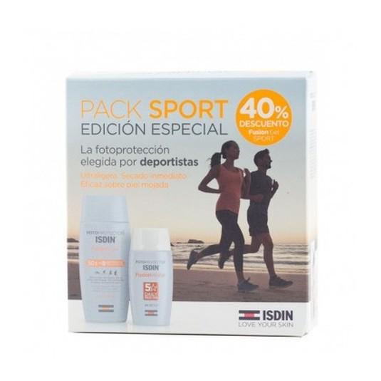 isdin fotoprotector corporal y facial gel fusion water spf50+set 2 piezas
