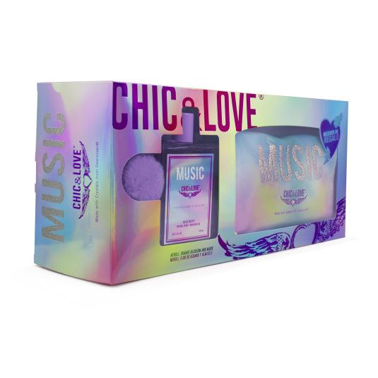 chic & love music eau de toilette 100ml+neceser
