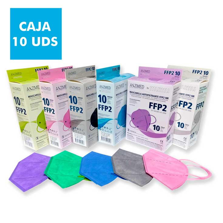mumu mascarilla ffp2 nr autofiltrante adulto colores caja 10 unidades
