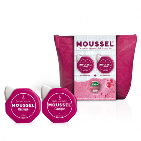 moussel gel clasico 600ml set 3 piezas + neceser