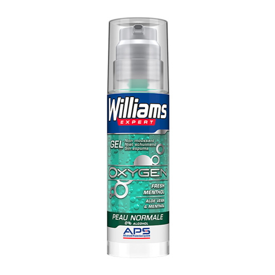 williams expert oxygen 0% alcohol gel afeitar piel normal 150ml