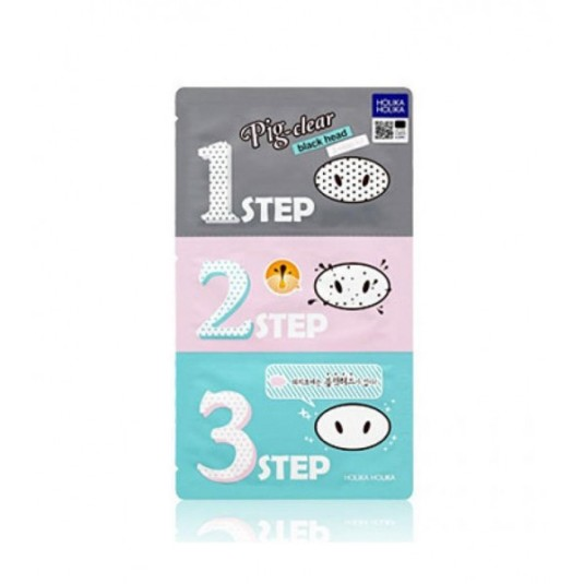 holika pignose clear black head 3 step kit // kit anti espinillas 3 paso